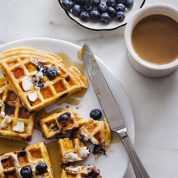 Sweet Corn & Blueberry Waffles