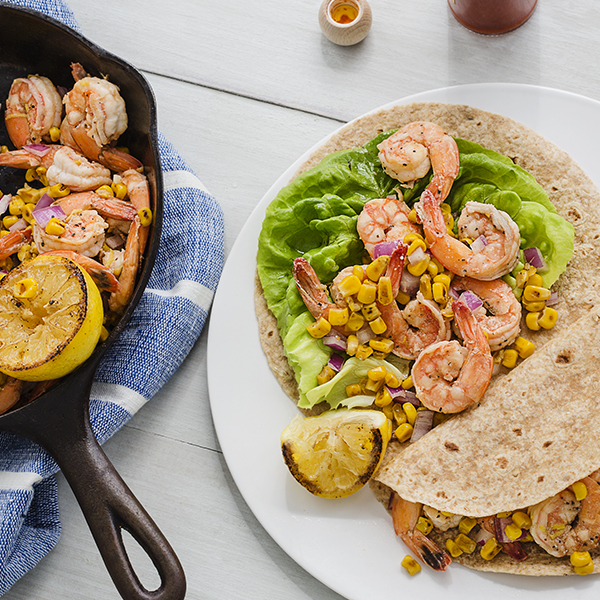 Lemon Corn Shrimp Wrap