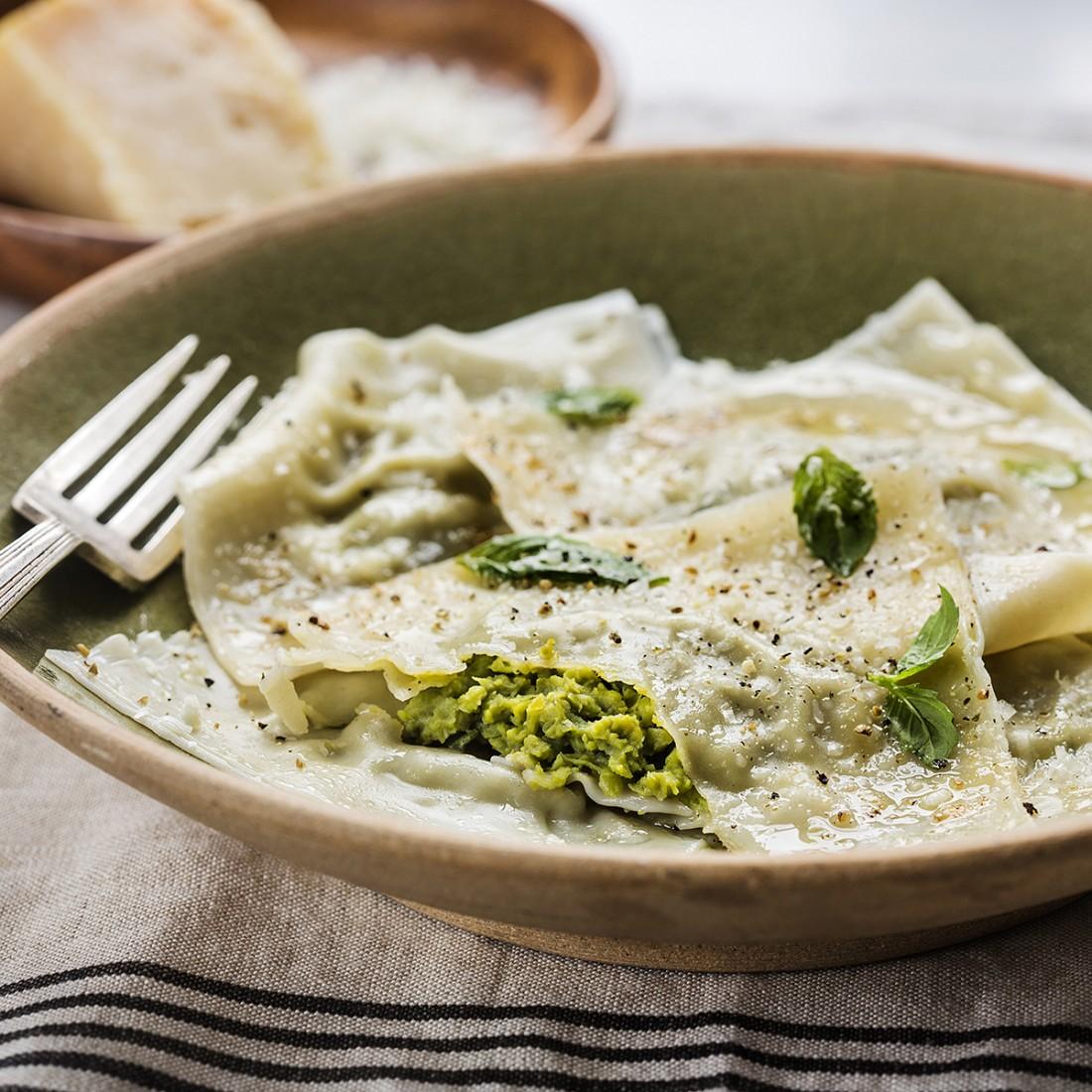 Pea & Parmesan Wonton Ravioli