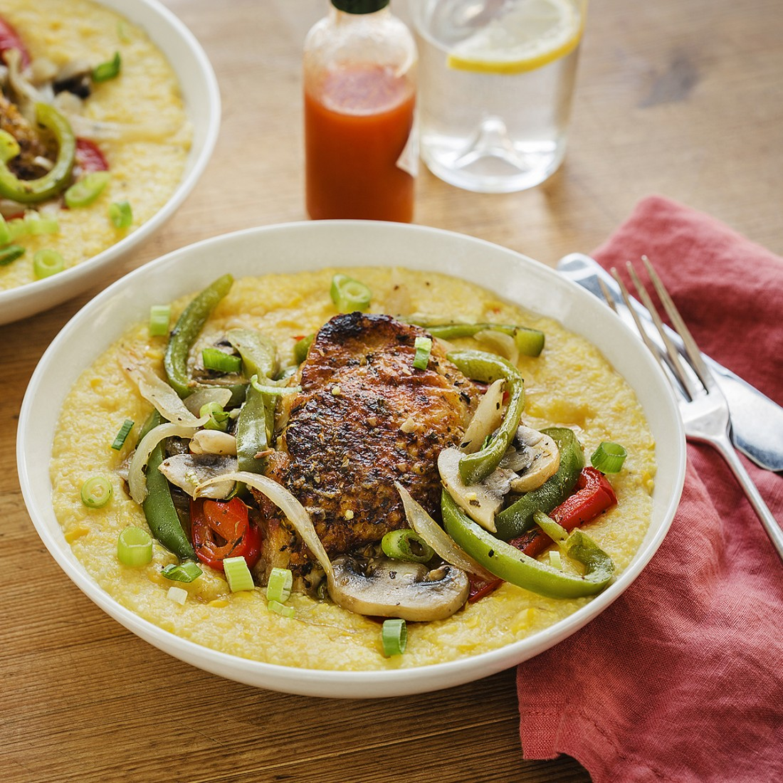 Sweet Corn Grits with Cajun Smothered Chicken